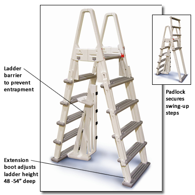 Adjustable Heavy-Duty Above Ground Pool A-Frame Ladder