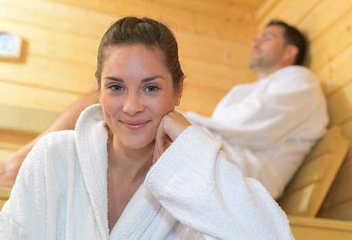 Couple enjoying a sauna!