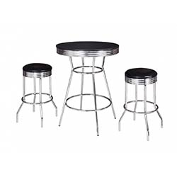Remington Chrome And Black 3 Piece Pub Table Set