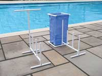 Swimming Pool Raft, Float and Towel Caddy with Hamper