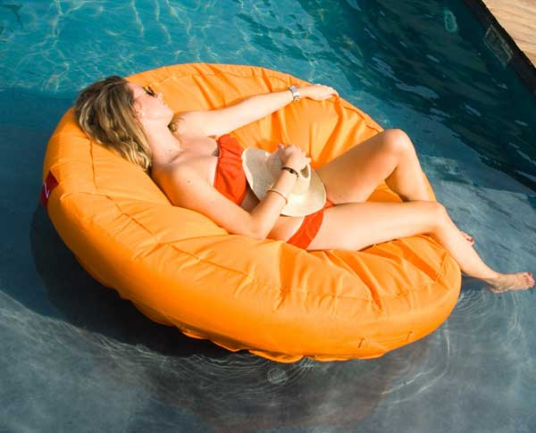 Sunsoft fabric covered swimming pool lounger - Swimming pool floating lounge chairs ...
