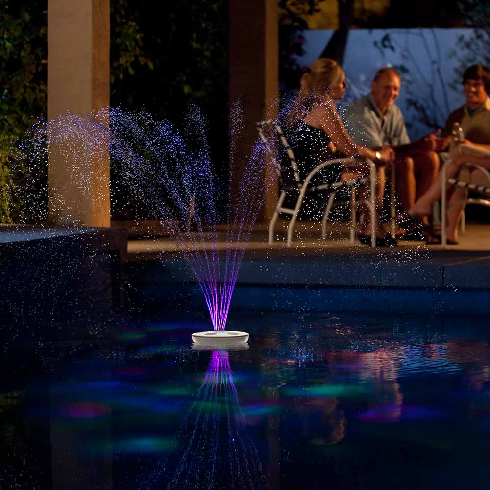 Aquajet floating pool light show and fountain - Above ground swimming pool lights ...
