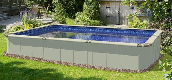 Ez panel grand 52 aluminum above ground swimming pool for Above ground rectangular swimming pool