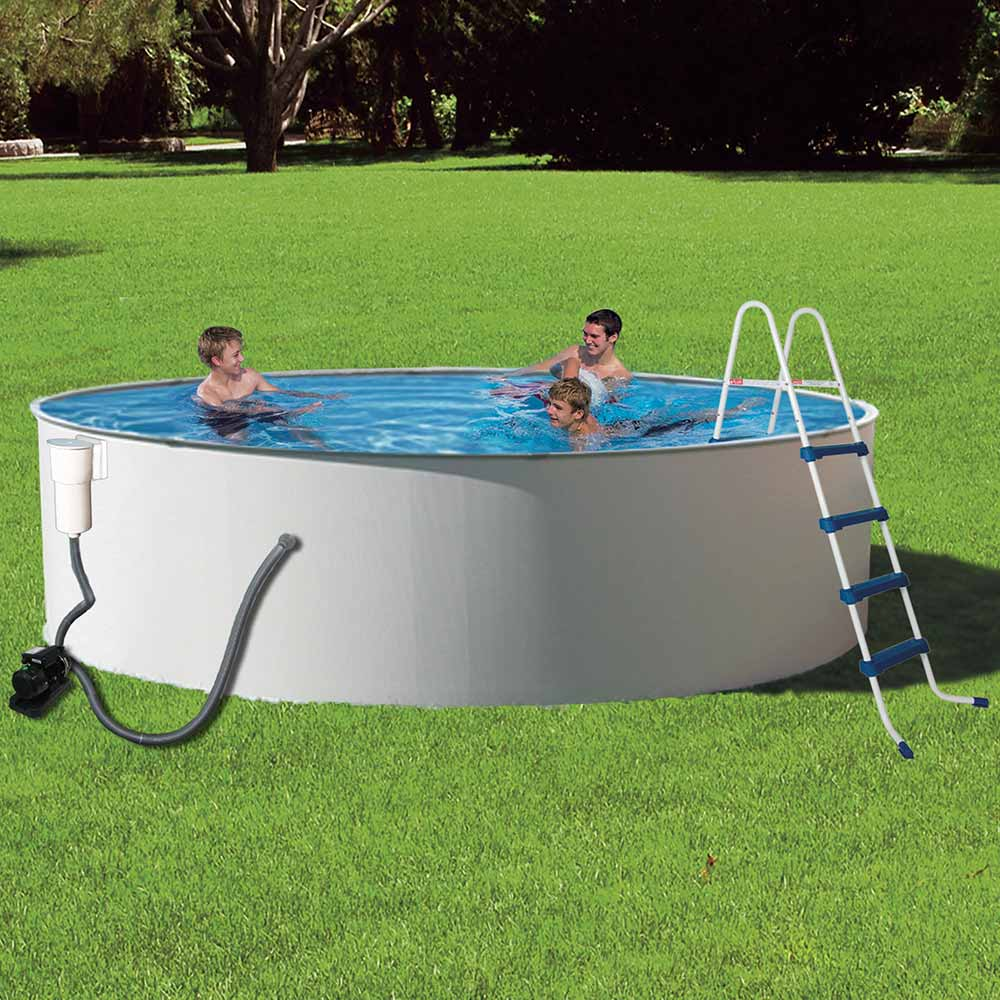 Presto simple set metal wall swimming pool package for Steel above ground swimming pools