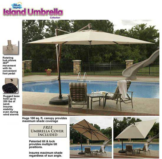 The Santorini 10u2032 Square Cantilever Umbrella Is Large Enough To Shade Two  People Comfortably While Sitting In Lounge Chairs And Enjoying A Drink.