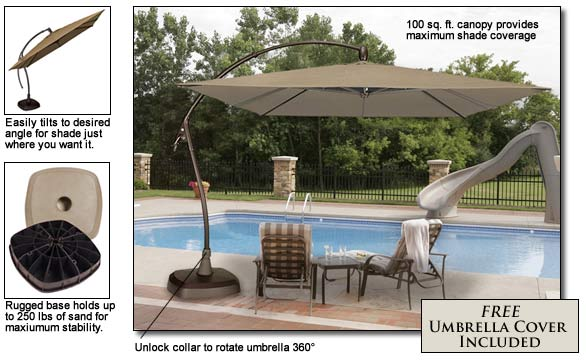 Seabrooke 10u2032 Square Cantilever Umbrella With Base