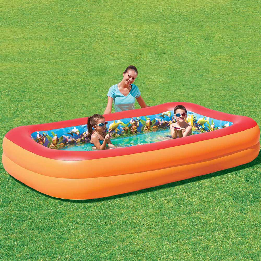 splash n play 3d adventure rectangle inflatable swimming pool