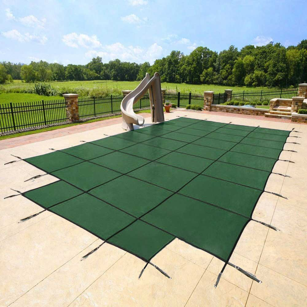 15 Year Inground Safety Mesh Pool Covers With Center End Steps