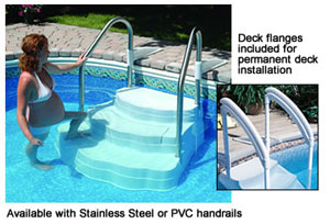 Oasis In Ground Pool Step With Stainless Steel Handrails