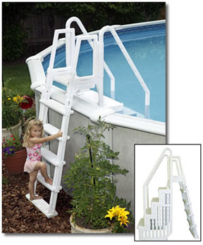 easy above ground pool steps with outside ladder - Above Ground Pool Outside Steps