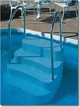 In Ground Swimming Pool Ladders Steps And Safety Handrails