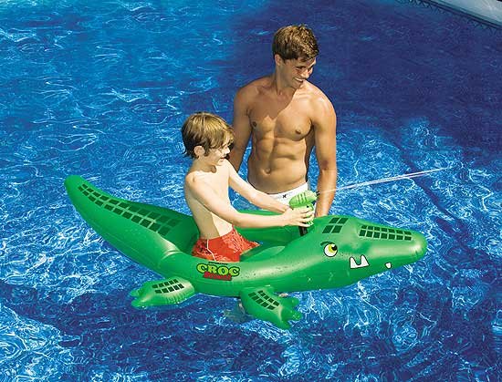Croc Attack Squirter Ride-on Inflatable Swimming Pool Float
