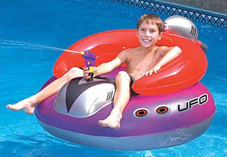 Ufo Spacehip Inflatable Swimming Pool Float With Squirt Gun