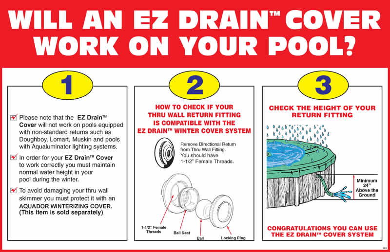 Ez Drain Above Ground Swimming Pool Winter Covers